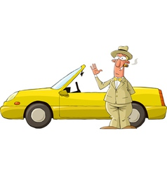 Man against the car vector image