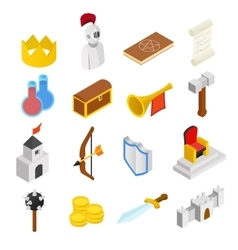 Medieval isometric 3d icons set vector