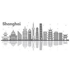 Outline shanghai skyline with modern buildings vector