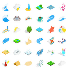 Rain water icons set isometric style vector