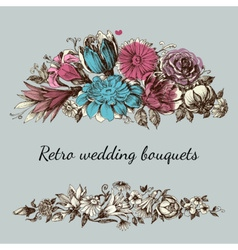 Retro wedding flower bouquets floral garden design vector image vector image