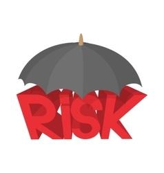 Risk under umbrella icon cartoon style vector