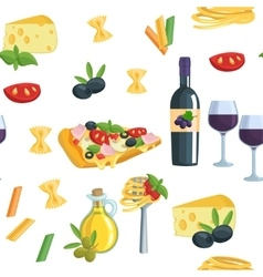 Seamless cartoon flat background with italian food vector
