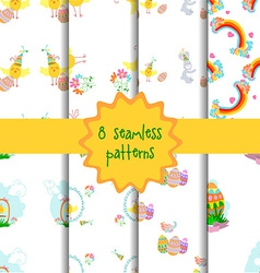 Set of 8 seamless patterns vector image vector image