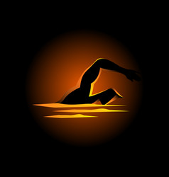 Silhouette of a man figure swimming vector