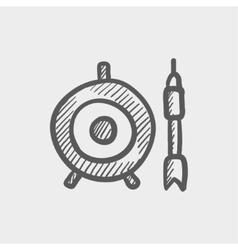 Target board and arrow sketch icon vector image