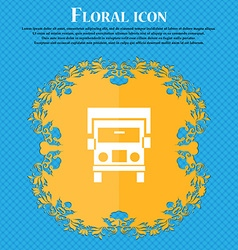Truck icon sign floral flat design on a blue vector