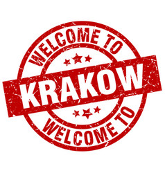 Welcome to krakow red stamp vector