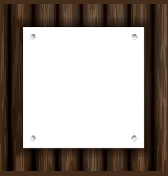 White note paper with pin on plank wood vector