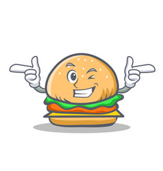 Wink burger character fast food vector
