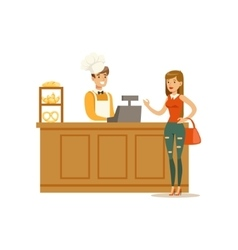 Woman buying pastry from the baker in the bakery vector