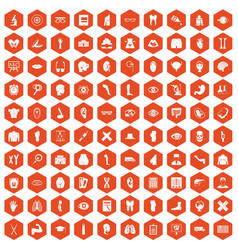 100 anatomy icons hexagon orange vector