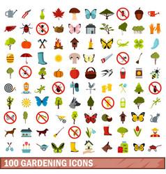 100 gardening icons set flat style vector image