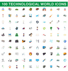 100 technological world icons set cartoon style vector