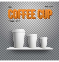 Realistic coffee cup takeout template set vector