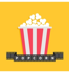 Popcorn film strip ribbon line with text red white vector