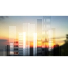 Urban modern city panorama on blurred landscape vector