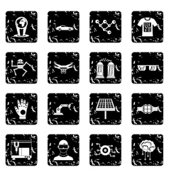 New technologies set icons grunge style vector