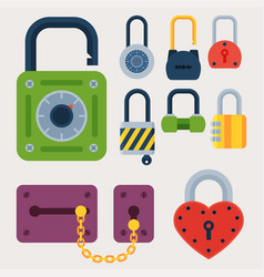 different house door lock icons set safety vector image