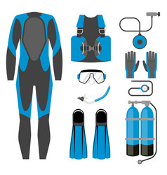 Set of diving equipment icon wetsuit scuba gear vector