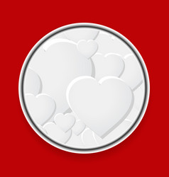 Metallic border with white hearts on red vector
