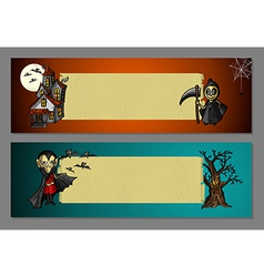 Halloween monsters blank space web banners set vector