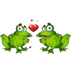 Green frogs in love vector image