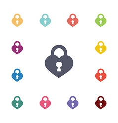 Heart lock flat icons set vector