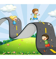 Children and road vector image