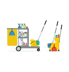 Flat trolley with accessories for cleaning vector