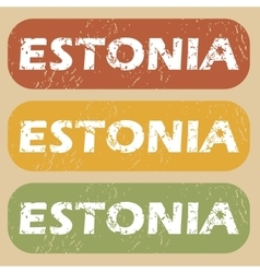 Vintage estonia stamp set vector