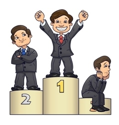 Businessmen are standing on pedestal 2 vector