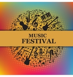 Music festival background with notes instruments vector