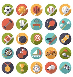 Round sports icons flat design set vector