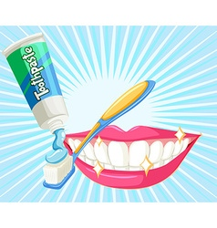 Dental theme with toothbrush and paste vector