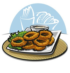 Fried squid rings vector