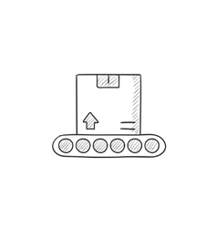 Conveyor belt for parcels sketch icon vector