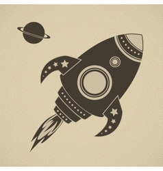 Vintage rocket in space vector image