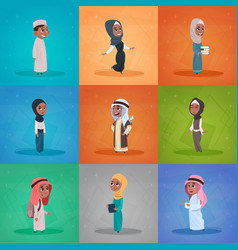 Arab children girls and boys set small cartoon vector