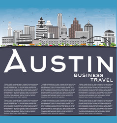 austin skyline with gray buildings blue sky and vector image vector image