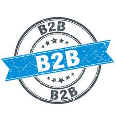 b2b round grunge ribbon stamp vector image vector image