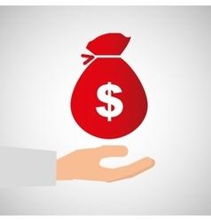 bag money business hand finance vector image