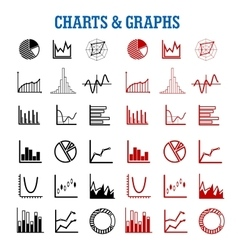 Black and red charts or graphs icons vector image