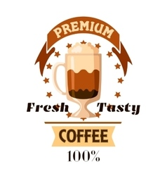Cappuccino latte coffee cup cafe label vector