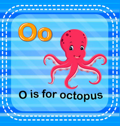Flashcard letter o is for octopus vector