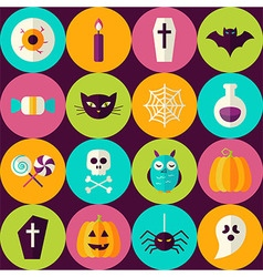 Flat Halloween Party Trick or Treat Seamless vector image