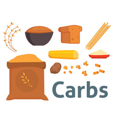 Food carbs isolated healthy ingredient bread diet vector