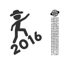 Gentleman climbing 2016 icon with men bonus vector