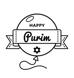 Happy Purim holiday greeting emblem vector image