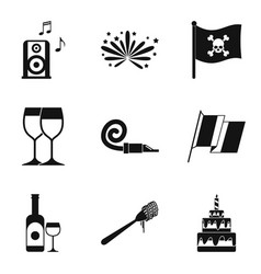 hooch icons set simple style vector image vector image
